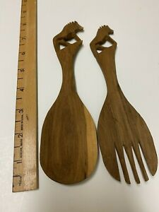 """Hand Carved Wooden Serving Spoons - Solid Wood Lion Salad Spoons 8"""" Height"""