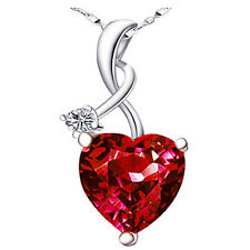 "4.03Ct Ruby Gemstone Heart Cut Pendant 925 Sterling Silver Necklace w/ 18"" Chain"