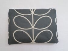 HANDMADE OILCLOTH HANDBAG MAKE UP BAG / PURSE - ORLA KIELY COOL GREY LINEAR STEM