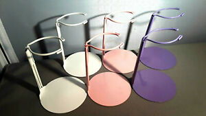 Doll Stands set of 6 Assorted Color Painted Metal 3-5 inch Dolls and bears
