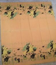 Scary Vintage Halloween Paper Tablecloth w/Witches on Brooms, Cats, Pumpkins*