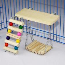Wooden Pet Ladder Swing Bridge Shelf Exercise Play Toys Sets for Hamster Parrots