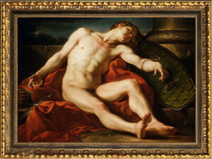 """Old Master-Art Antique portrait oil Painting male nude on canvas  30""""x40"""""""