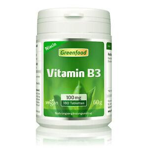 Greenfood Vitamin B3 (Niacin), 100 mg, hochdosiert, 180 Tabletten – vegan
