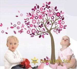 Pink purple Nursery Children Girl Bedroom Cherry Tree Butterfly wall Sticker