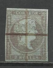 C155-SELLO ESPAÑA CLASICO ISABEL II AÑO 1855 USADO Nº42 FILIGRANA LAZOS,2 REALES