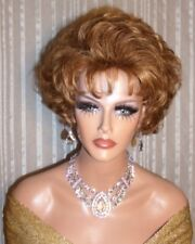 Drag Queen Costume Wig Short Sexy Soft Light Auburn Red Teased Out with Bangs