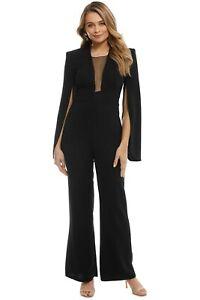 Carla Zampatti Black Crepe Titania Jumpsuit Size 8