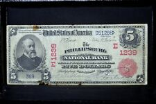1902 RS $5 NATIONAL BANK NOTE ✪ PHILLIPSBURG NATIONAL BANK ✪ NJ 1239 ◢TRUSTED◣