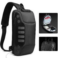 Men's Sling Backpack Oxford cloth Waterproof&Anti-theft Crossbody Sport Bags USB