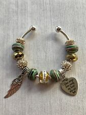 """Your Wings Were Ready, My Heart Was Not"" Cuff Bangle Charm Bracelet"