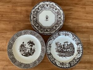 """Brown Transferware Hanging Plates Set Of 3 Two's Company 8"""" Tiens Ferme EUC"""