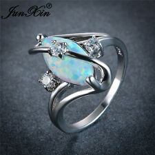 Marquise Cut White Fire Opal S Shape Wedding Ring White Gold For Women Size 5-11
