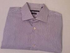 John Varvatos Men's Button Down French Cuff Purple Stripe Dress Shirt 15.5 34/35