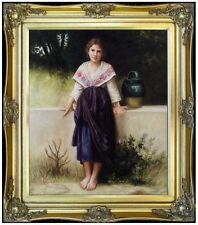 Framed Hand Painted Oil Painting, Repro Bouguereau A Moment's Rest, 20x24in