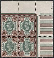 1887 JUBILEE SG205 4d GREEN & DEEP CHOCOLATE BROWN UNMOUNTED MINT BLOCK OF 4