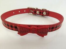 Dog Collar PU Leather Tartan Check Reflective Safety Bow Tie 3 Sizes/Colours