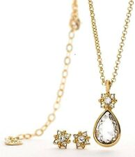 PILGRIM Gold Plated Necklace and Stud Earrings Set with Clear Swarovski Stones
