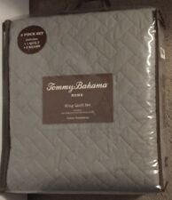 Tommy Bahama Chevron Pelican Gray 3 Piece King Quilt Set NWT