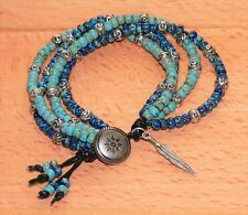 Carolina Sundance 4 Strand Leather Turquoise Lapis Boho Button Wrap Bracelet
