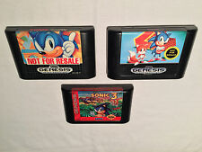 Sonic the Hedgehog 1,2,3 (Sega Genesis) Lot of 3 Games Cartridges Excellent!