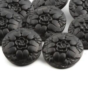 Lot (8) Czech vintage flower in a flower matte black glass buttons 23mm