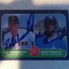 1986 Fleer Rob Woodward And Mickey Brantley Auto Signed Card