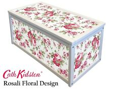 White Wooden Chest  / Storage Box With Cath Kidston Ikea Rosali Stickers