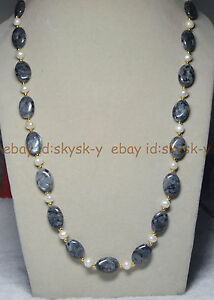 Natural 13x18mm Oval Black Gray Labradorite & Real White Pearl Necklace 27inches