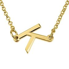 Sideways Initial Necklace - Any Letter Pendant 24k Gold Plated - oNecklace ®
