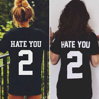 Casual Women's HATE YOU 2 Letter Print  Summer Short Boyfriend Tops