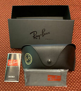 Ray-Ban Oversized Sun Glasses Case Black Leather Gold Logo with Cloth And Box