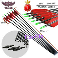 "6x 30""5""Turkey Feather Spine 500 Archery Carbon Arrows for Recurve  Compound Bow"
