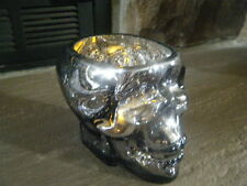 HALLOWEEN SILVER MIRROR SKULL HEAD CRACKLED GLASS CANDLE HOLDER WITH TEA LIGHT