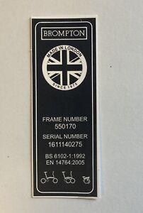Brompton Seat Tube Decal 9x3cm