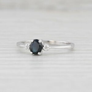 0.30ct Blue Sapphire White Diamond Ring 10k White Gold Size 6 Oval Engagement
