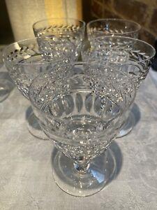 5 vintage,cut crystal Sherry Liqueur Glasses Stunning Pattern Unknown Make 3oz