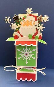 POP UP CHRISTMAS CARD ..SANTA/TREES, SNOWFLAKES. 3