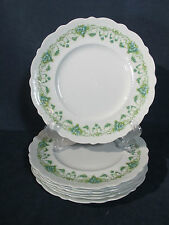 Johnson Brothers China Dinner Plates Vintage Blue Rose Green Garland Set of 7