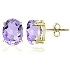 Gold Tone over Sterling Silver Amethyst 8x6mm Oval Stud Earrings