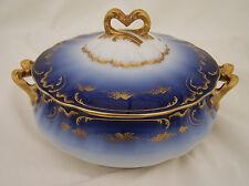 "L Sazerat Limoges 7 1/8"" Round Covered Serving Bowl Antique"