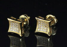 Mens Concave Kite Studs 14k Gold Plated Micro Pave Cz Earrings Hip Hop