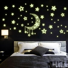 Home Diy Wall Sticker Glow In The Dark Fluorescent Moom Stars For Kids Rooms