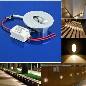10x 1w Round LED Light Recessed Porch Pathway Step Stair Wall Walkway Warm 230V