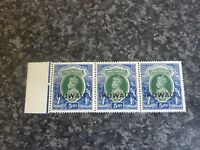 KUWAIT POSTAGE STAMPS SG49 5RS STRIP OF 3 SIDE GREEN & BLUE UN MOUNTED MINT MARG