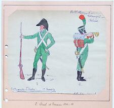 FEUILLE 2 AQUARELLES UNIFORMES MILITAIRES Garde-Forestier Cornet de Douanier BNF