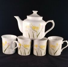 VTG 1985 TIVOLI BY SHAFFORD TEAPOT and 4 TEACUPS  YELLOW FREESIA on PORCELAIN