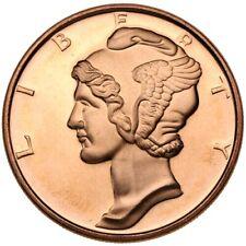 1 oz Copper US Mercury Dime Design .999 Fine Coin Brilliant UNC+