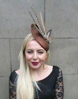 Grey Bronze Brown Pheasant Feather Pillbox Hat Hair Clip Fascinator Races 4534