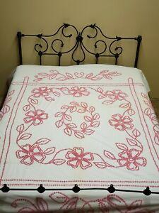 "Vintage Antique Chenille Bedspread Handmade PINK Cotton 1940s Estate 96x80"""